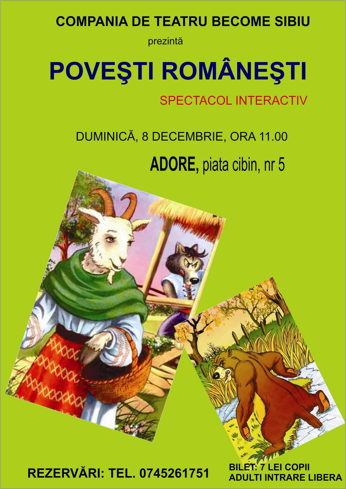 "Spectacol pentru copii ""Povesti Romanesti""- interactiv"