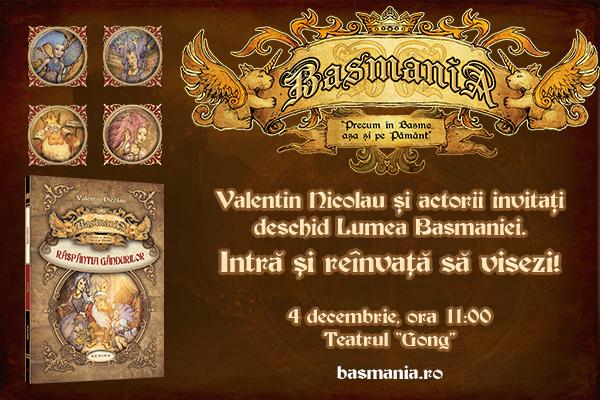 """Romanul fantasy """"Basmania. Răspântia gândurilor"""" se lansează la Teatrul Gong din Sibiu!"""