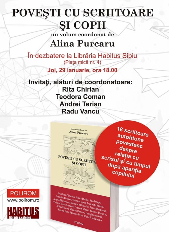 """Scrisul după naștere: lansarea volumului """"Povești cu scriitoare și copii"""", coordonat de Alina Purcaru"""