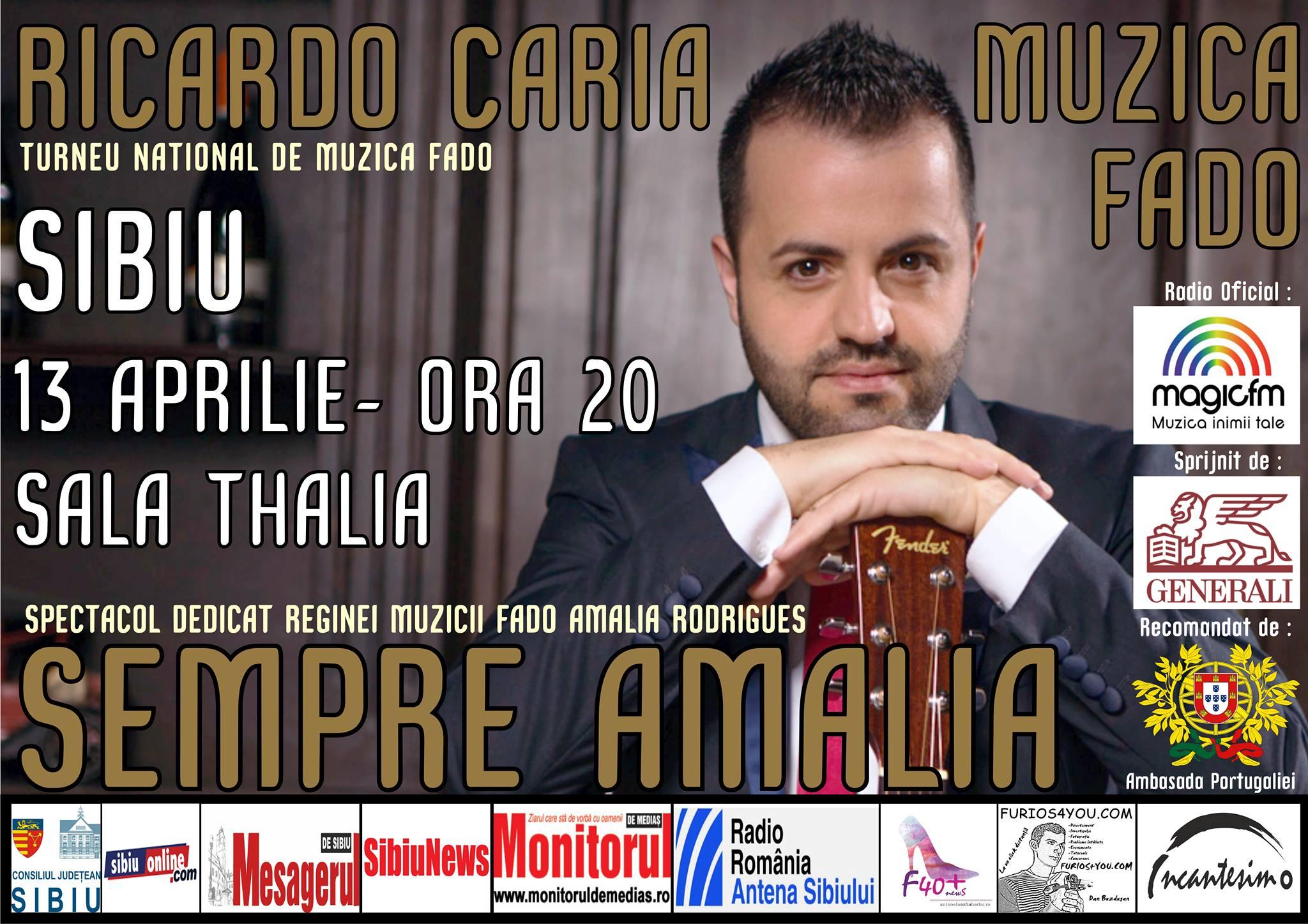 Ricardo Caria la Sibiu cu spectacolul SEMPRE AMALIA