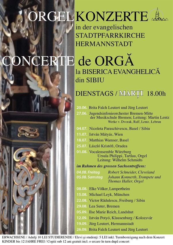 Concerte de orgă în biserica evanghelică din Sibiu